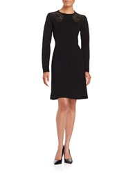 Elie Tahari Floral Lace Wool Blend Long Sleeve Dress Black