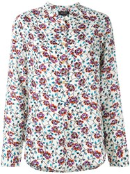 Isabel Marant Collarless Floral Shirt White