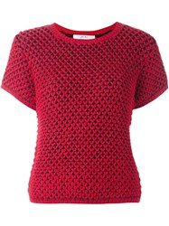 Julien David Knitted Shortsleeved Top Red