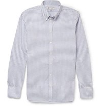 Turnbull And Asser Button Down Collar Checked Cotton Shirt Blue
