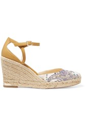 Paloma Barcelo Printed Canvas And Leather Trimmed Espadrille Wedge Sandals Yellow