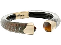 Alexis Bittar Crocodile Textured W Cushion Cut Tiger Eye Brake Hinge Bracelet Emerald Croc Earring Black