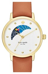 Women's Kate Spade New York 'Metro Moon' Leather Strap Watch 34Mm Brown White