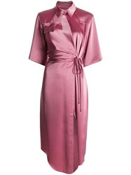 Nanushka Satin Wrap Dress Pink