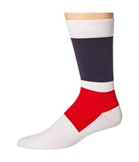 Lacoste Color Blocked Sock White Navy Blue Cherry Red Men's Crew Cut Socks Shoes