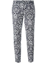 Michael Michael Kors Arabesque Print Cropped Trousers Blue