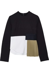 Jacquemus Paneled Wool Crepe Wool Twill And Stretch Cotton Poplin Top