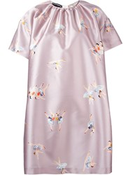 Rochas Ballerina Print Shift Dress Pink And Purple
