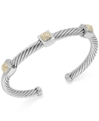 Macy's Pyramid Cable Cuff Bracelet In 14K Gold And Sterling Silver