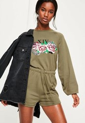 Missguided Khaki Rose Embroidered Loopback Playsuit