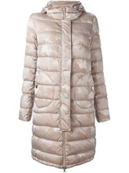 Herno Padded Oversized Coat Pink And Purple