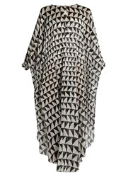 Kalmar Zigzag Print Cotton Kaftan Black White