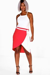 Boohoo Stacie Wrap Over Tie Waist Skirt Red