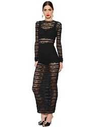 Dolce And Gabbana See Through Stripes Lace Stretch Dress