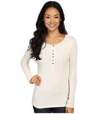 Dylan By True Grit Soft Rayon Thermal Rib Henley Vintage Oatmeal Women's Long Sleeve Pullover White