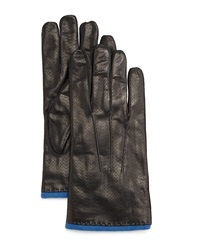 Portolano Perforated Leather Gloves Black Skydiver