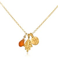Satya Jewelry Gold Om Hamsa And Carnelian Necklace
