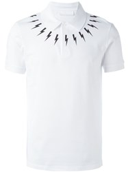 Neil Barrett Lightning Bolt Print Polo Shirt White
