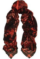 Balmain Printed Modal And Cashmere Blend Scarf Red