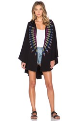 Mara Hoffman Embroidered French Terry Cape Black