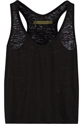 Enza Costa Stratus Burnout Effect Cotton Blend Jersey Tank Black