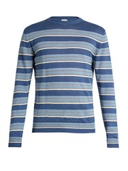 Loewe Striped Linen Blend Sweater Blue Multi