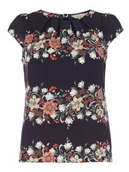 Dorothy Perkins Billie And Blossom Border Floral Shell Top Navy