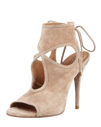 Aquazzura Sexy Thing Suede Cutout Sandal Nude Brown