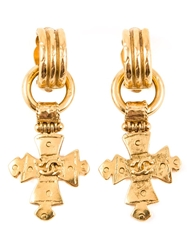 Chanel Vintage Logo Cross Earrings Metallic