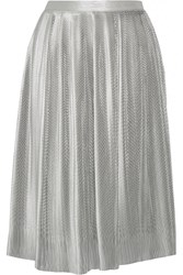 Adam By Adam Lippes Plisse Silk Blend Lame Skirt Silver Metallic