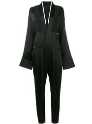 Haider Ackermann V Neck Long Sleeve Jumpsuit Black