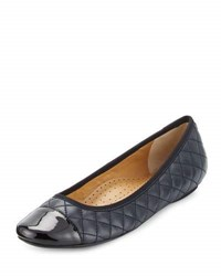 Neiman Marcus Saucy Quilted Leather Flat Navy Black