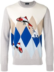 Ballantyne Fish Intarsia Jumper Men Cotton Cashmere 50 Grey