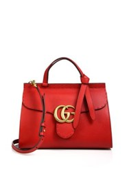 Gucci Gg Marmont Leather Top Handle Bag Red Black