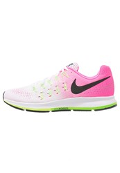 Nike Performance Air Zoom Pegasus 33 Cushioned Running Shoes White Black Pink Blast Electric Green