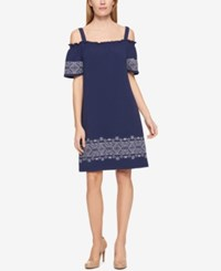 Tommy Hilfiger Embroidered Off The Shoulder Dress Only At Macy's Navy Ivory