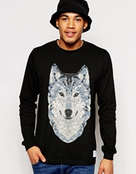 Supreme Being Supremebeing Long Sleeve T Shirt In Geo Wolf Print Black