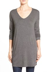 Women's Gibson V Neck Tunic With Pockets Charcoal