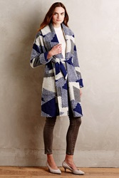 Tracy Reese Riverbank Robe Coat Blue Motif