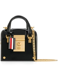 Thom Browne Mrs. Tiny With Chain Shoulder Strap In Calf Leather Calf Leather Black