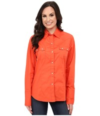 Roper 9792 Solid Poplin Coral Red Women's Long Sleeve Button Up