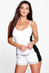 Boohoo Contrast Cami And Short Set White