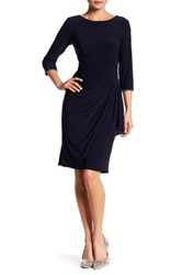 Alex Evenings Ruched Rhinestone Dress Blue