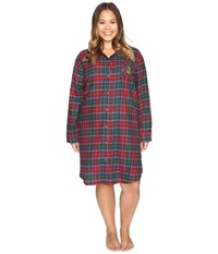Lauren Ralph Lauren Plus Size Brushed Twill Sleepshirt Plaid Red Green Blue Women's Pajama