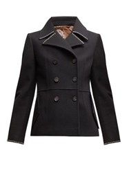 Golden Goose Studded Double Breasted Pea Coat Black