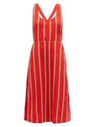 Ace And Jig Willa Striped Cotton Pinafore Dress Red