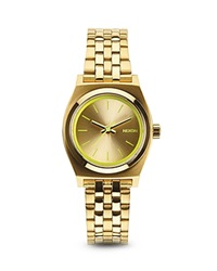 Nixon The Small Time Teller Watch 26Mm Gold Neon Yellow
