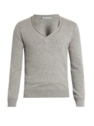 Tomas Maier V Neck Cashmere Sweater Light Grey