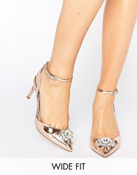 Asos Society Wide Fit Embelished Heels Nude Metallic Beige