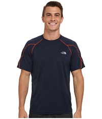 The North Face Voltage Short Sleeve Crew Shirt Cosmic Blue Acrylic Orange Men's Short Sleeve Pullover